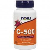NOW FOODS VITAMIN C-500 +ROSE HIPS 100 TAB